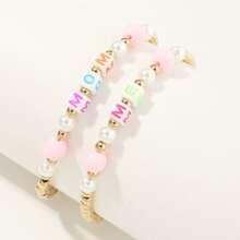 2pcs Girls Faux Pearl Beaded Bracelet