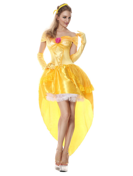 Milanoo Disfraz Halloween Disfraz de princesa de Halloween traje de talle alto amarillo Outfit 3 piezas para mujer Carnaval Halloween