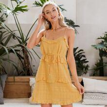 Ruffle Trim Belted Cami Dress