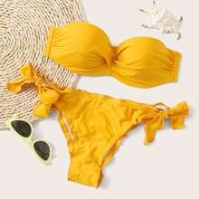 Twist Lettuce Trim Underwire Tie Side Bikini Badeanzug