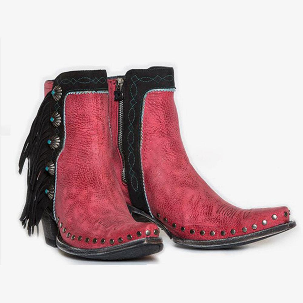 Plus Size Tassel Rivet Decoration Retro Women Chunky Heel Ankle Boots