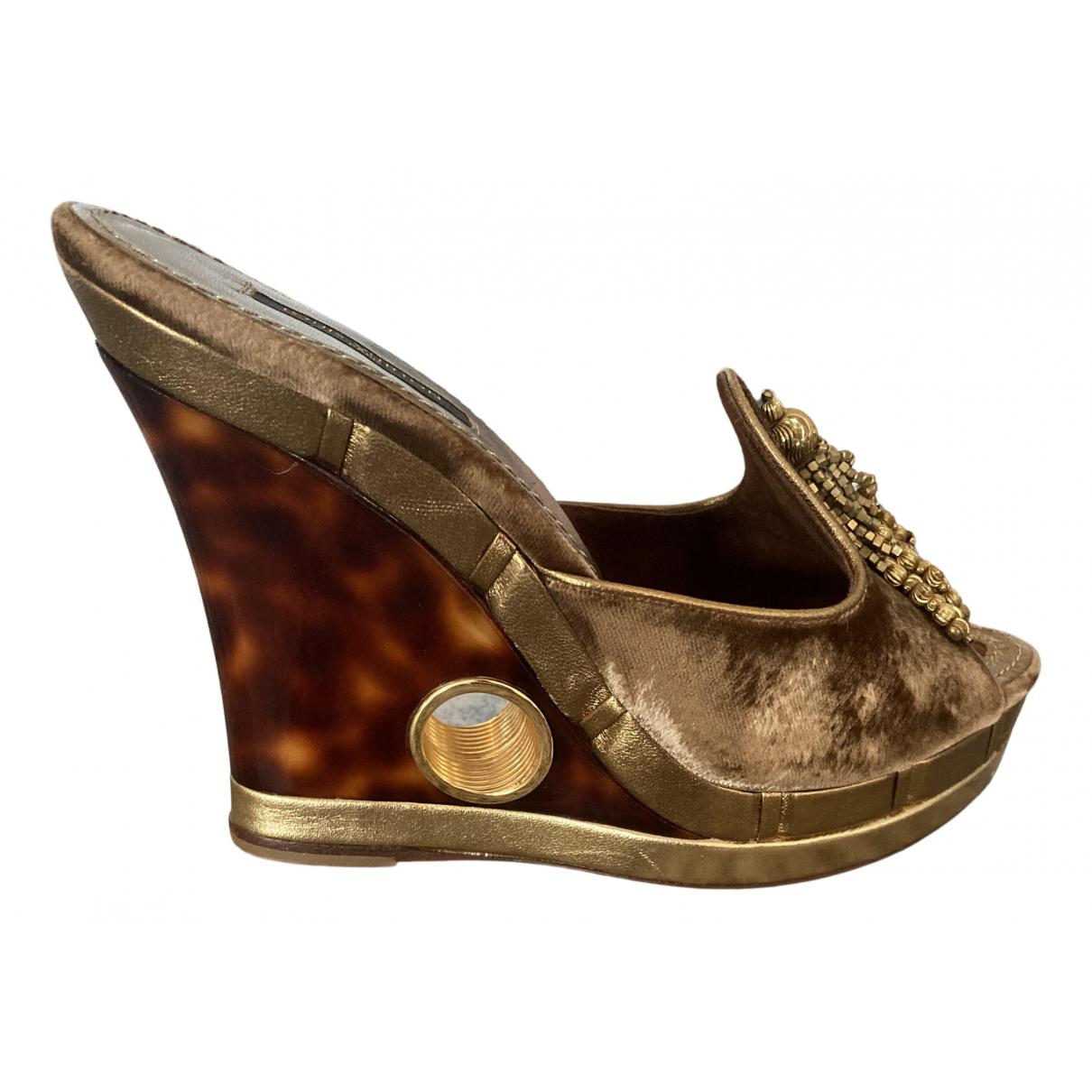 Louis Vuitton - Sandales   pour femme en velours - marron