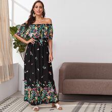Schulterfreies Kleid mit Bluemchen Muster