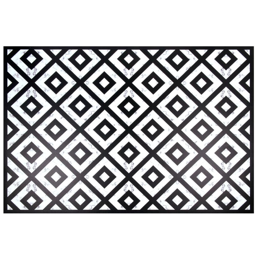 Vinyl-Teppich, schwarz und weiss, gemustert 100x150
