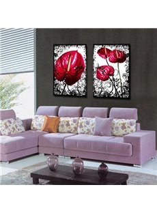 Red Callas Pattern Square 2-Piece Canvas Waterproof and Environmental Framed Prints