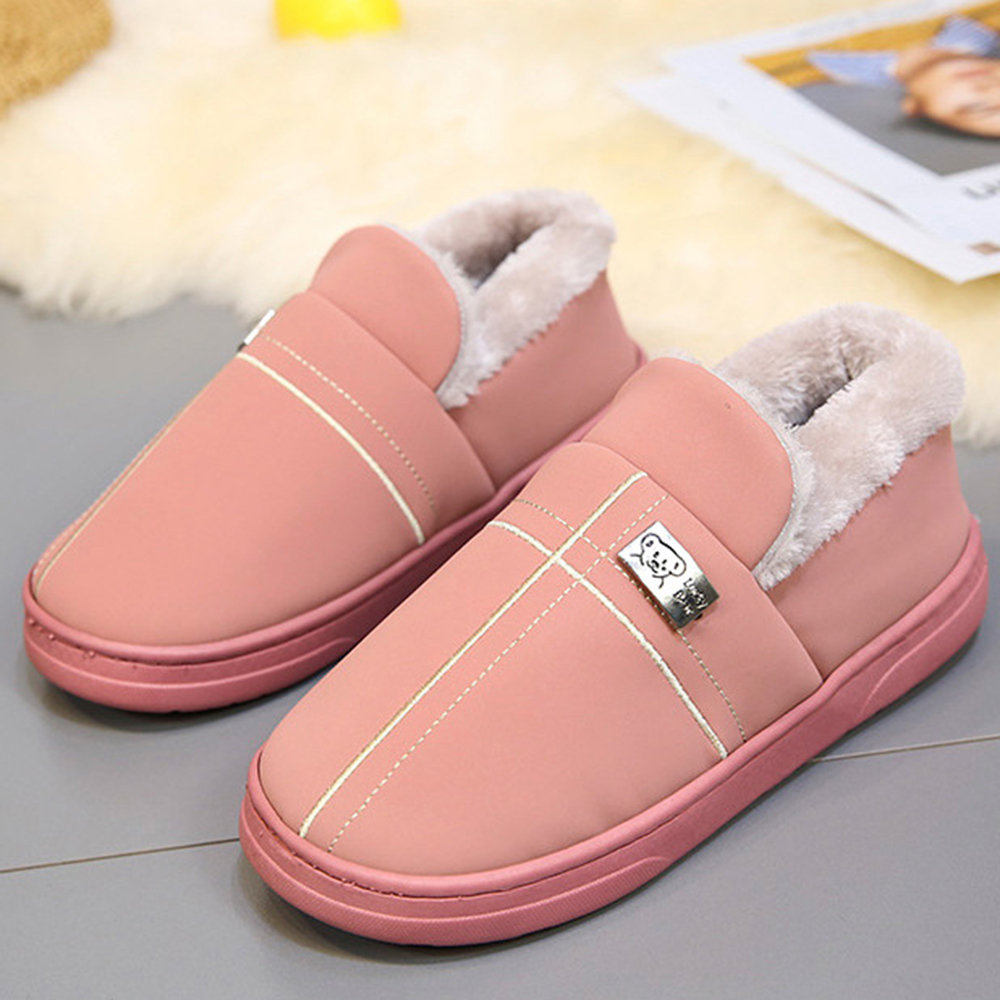 Candy Color Winter Warm Lining Slip On Home Shoes