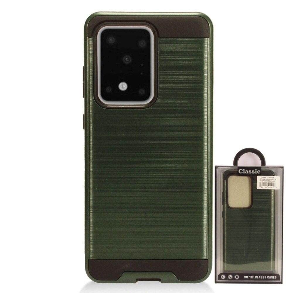 Insten Hard Dual Layer Brushed TPU Case For Samsung Galaxy S20 Ultra - Green/Black (Green)