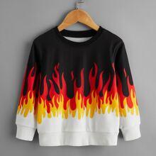Sweatshirt mit Feuer Muster