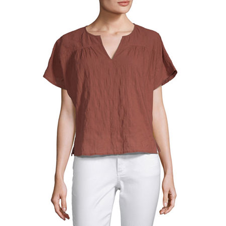 a.n.a Womens Split Crew Neck Short Sleeve Woven Blouse, Small , Red