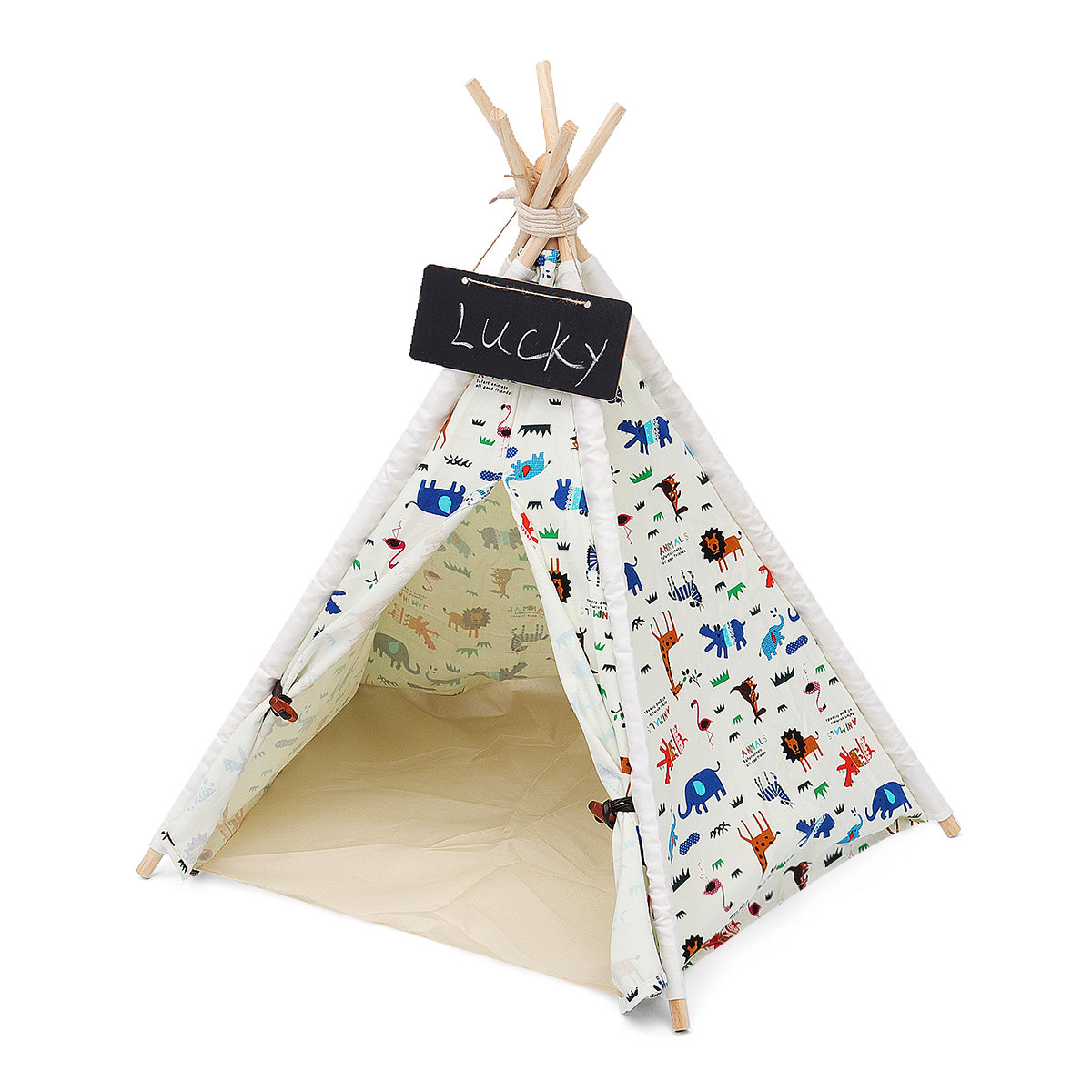 Pets Teepee Tent Dogs Home Canvas Pretend Play Playhouse Tipi Outdoor Indoor