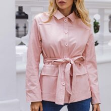 Collared Single Breasted Pocket Patched Self Belted PU Leather Coat