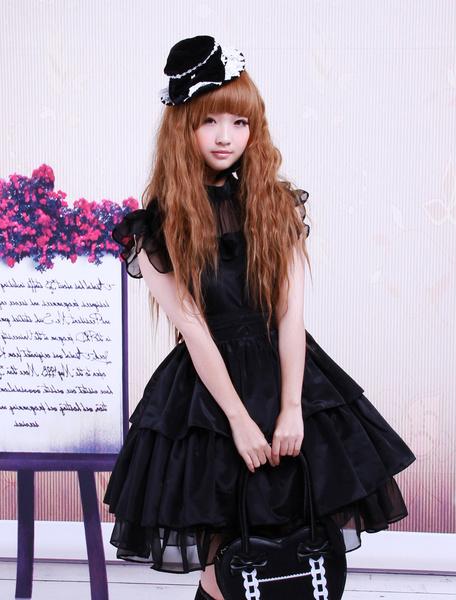 Milanoo Rayon Yarn Black Lolita OP Dress with Ruffles Waist Belt