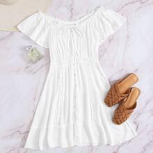 A Linie Kleid mit Knopfen