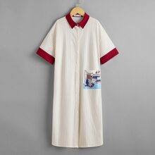 Girls Contrast Collar and Cuff Pocket Patched Button Up Nightdress