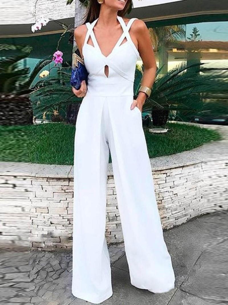 Ericdress Plain Strap Dressy Straight Slim Jumpsuit