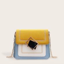 Color Block Chain Crossbody Bag