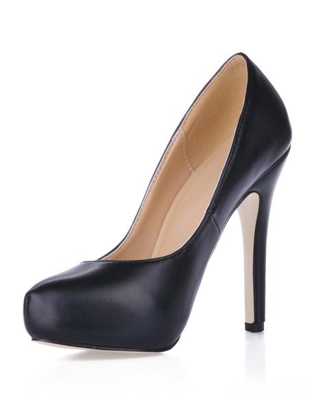 Milanoo Zapatos de tacon de PU negro