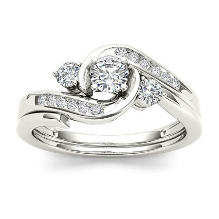 1/2 CT. T.W. Diamond 10K White Gold 3-Stone Bypass Ring Set, 8 , No Color Family