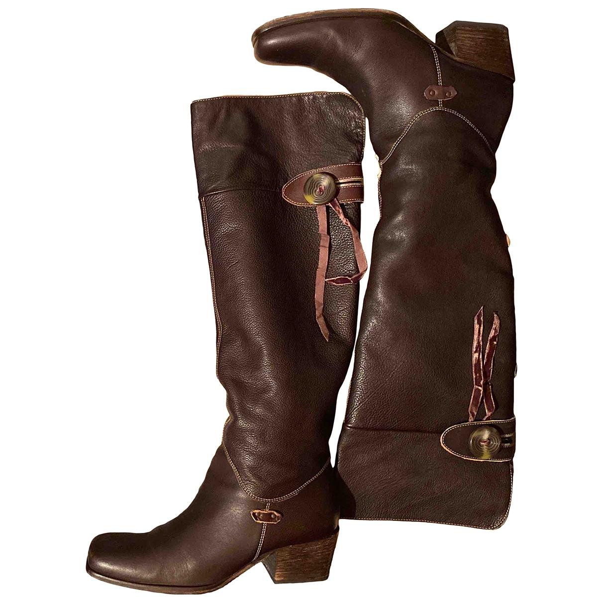 Boss - Bottes   pour femme en cuir - marron