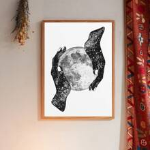 Hand Moon Print Wall Painting Without Frame