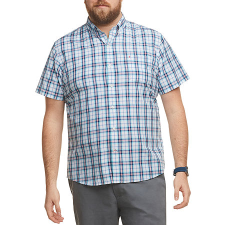 IZOD Big and Tall Mens Short Sleeve Button-Down Shirt, 2x-large , Blue