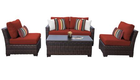 RIVER-05d-TERRACOTTA Kathy Ireland Homes and Gardens River Brook 5-Piece Wicker Patio Set 05d - 1 Set of Truffle and 1 Set of Cinnamon