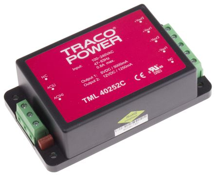 TRACOPOWER , 40W Embedded Switch Mode Power Supply SMPS, 5 V dc, 12 V dc, Encapsulated