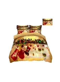 Christmas Stocking and Ornaments Printing 4-Piece 3D Bedding Sets/Duvet Covers