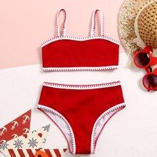 Toddler Girls Rib Whip Stitch Bikini Swimsuit