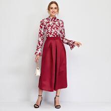 Flounce Sleeve Plants Print Top & Fold Pleated Skirt Set