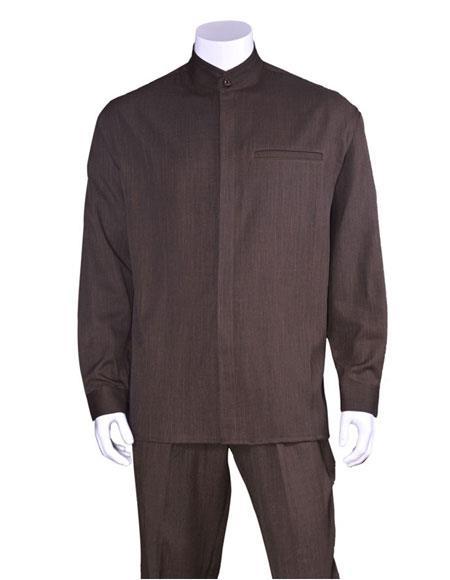 Men's Long Sleeve Brown Mandarin / Banded Collar Casual Walking Suit