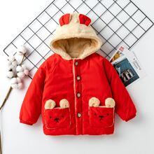 Jacke mit Baer Muster, einreihigen Knopfen und Kapuze