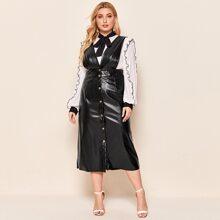 Plus Button Up PU Leather Suspender Dress