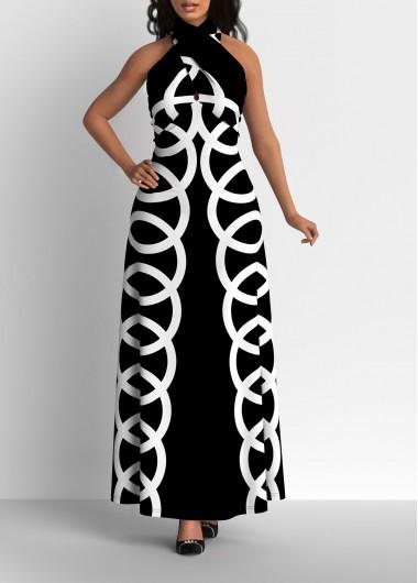 Black Dresses Geometric Print Cross Halter Black Maxi Dress - M