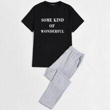 Top mit Buchstaben Grafik & Hose Schlafanzug Set