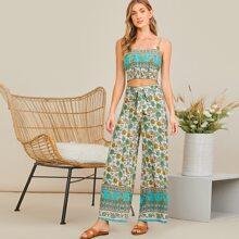 Floral Print Shirred Panel Cami Top and Wide Leg Pants Set