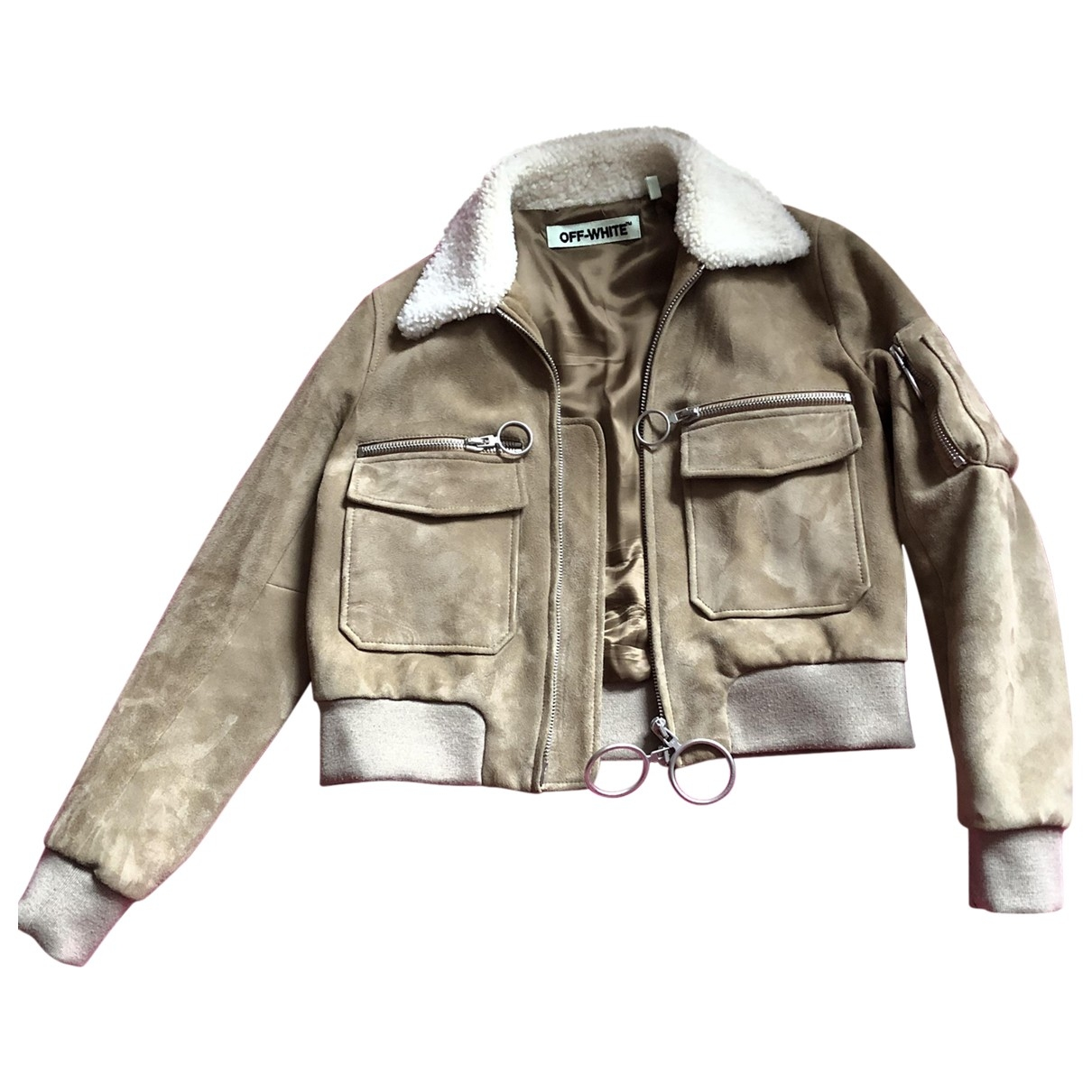 Off-white \N Beige Leather jacket for Women 42 IT