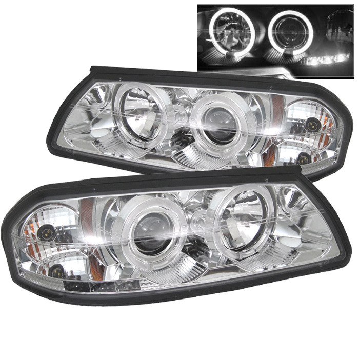 Spyder Auto PRO-YD-CHIP00-HL-C Chrome LED Halo Projector Headlights with High H1 and Low H1 Lights Included Chevrolet Impala 00-05