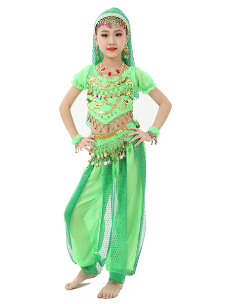 Milanoo Belly Dance Costume Kids Light Green Chiffon Bollywood Indian Dancing Costumes