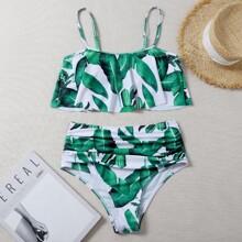 Bañador bikini fruncido bajo fruncido tropical