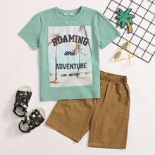 Boys Tropical & Slogan Graphic Top and Shorts Set
