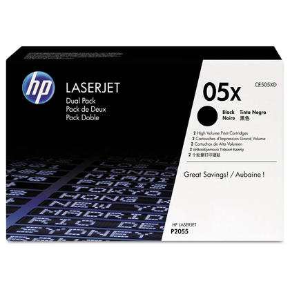 HP 05X CE505XD Original Black Toner Cartridge High Yield, 2/Pack
