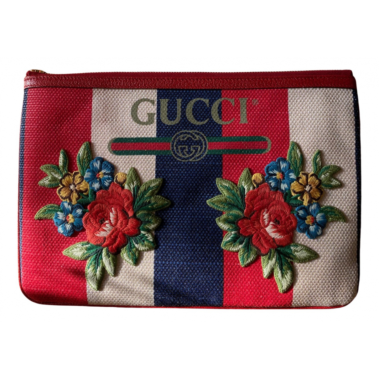 Gucci \N Clutch in  Rot Leinen