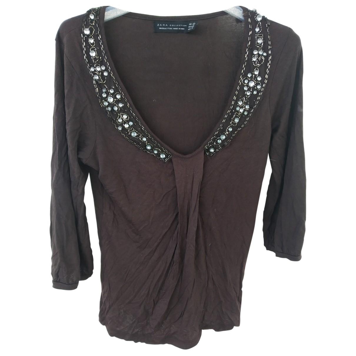 Zara - Top   pour femme en a paillettes - marron