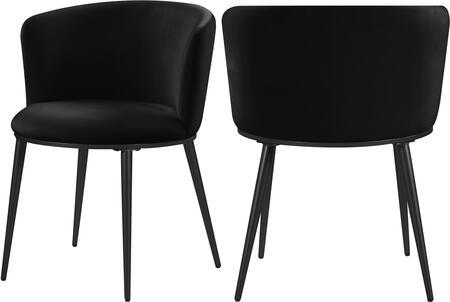966BLACK-C Skylar Black Velvet Dining Chair (Set of
