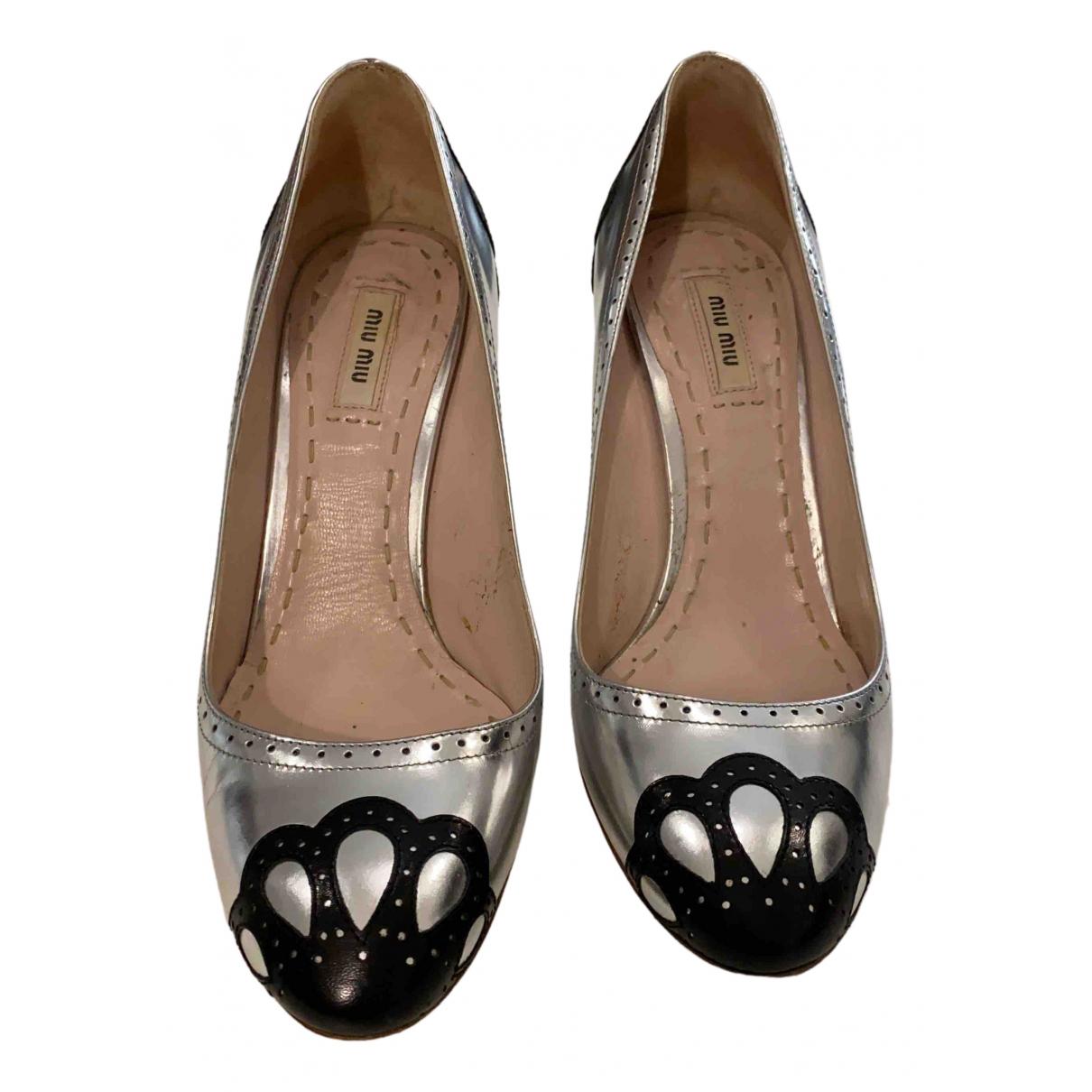 Miu Miu N Silver Leather Heels for Women 39 EU