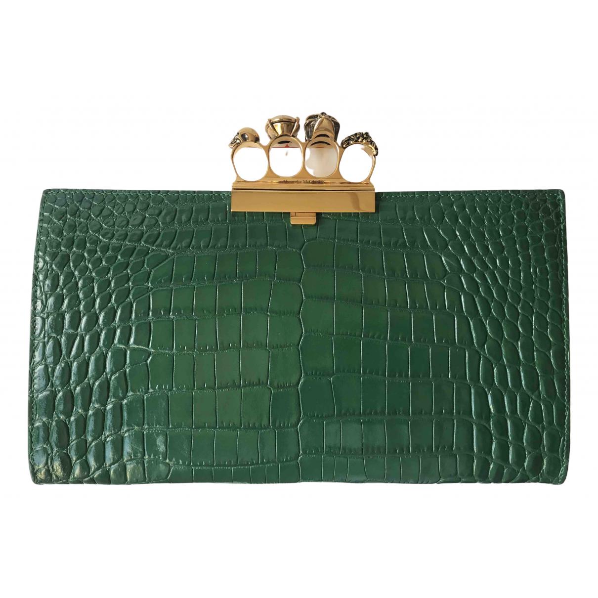 Alexander Mcqueen Knuckle Green Leather Clutch bag for Women \N