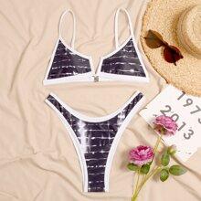 Bikini Badeanzug mit Batik, V Ausschnitt und hohem Ausschnitt