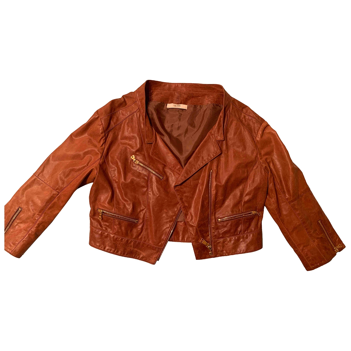 Prada \N Brown Leather Leather jacket for Women 46 IT
