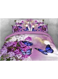 Purple Lilac and Butterflies 3D Floral Printed 4-Piece Polyester Bedding Sets/Duvet Covers